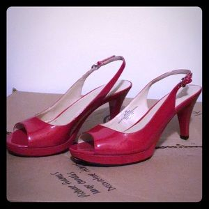 Red patent leather sling back peep toe heels
